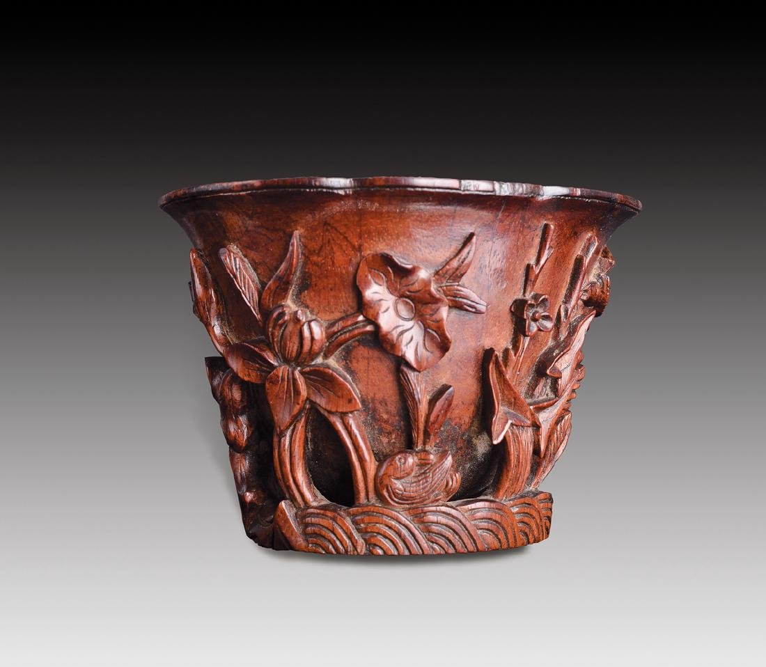 Huanhuali Carved Cup, Ming-Dynasty