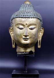 A Monumental Gilt Bronze Buddha Head 16th Century