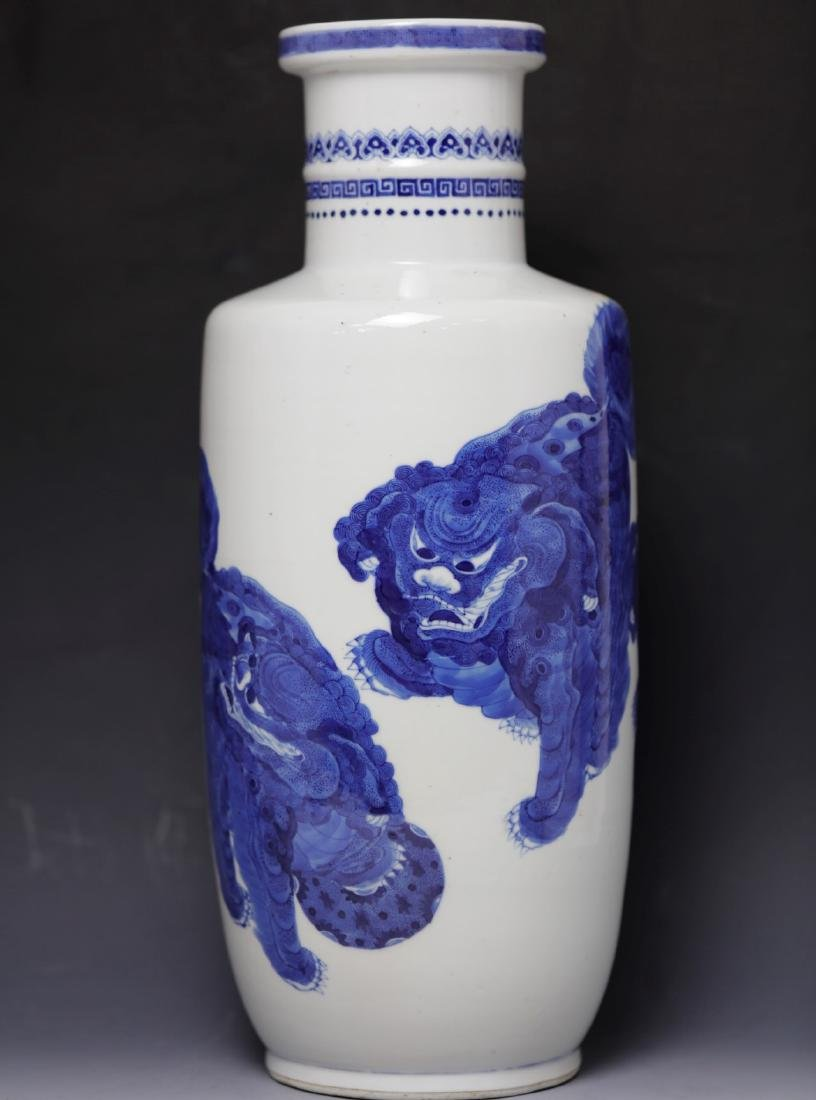 A rare Blue and White Rouleau Vase Kangxi Period