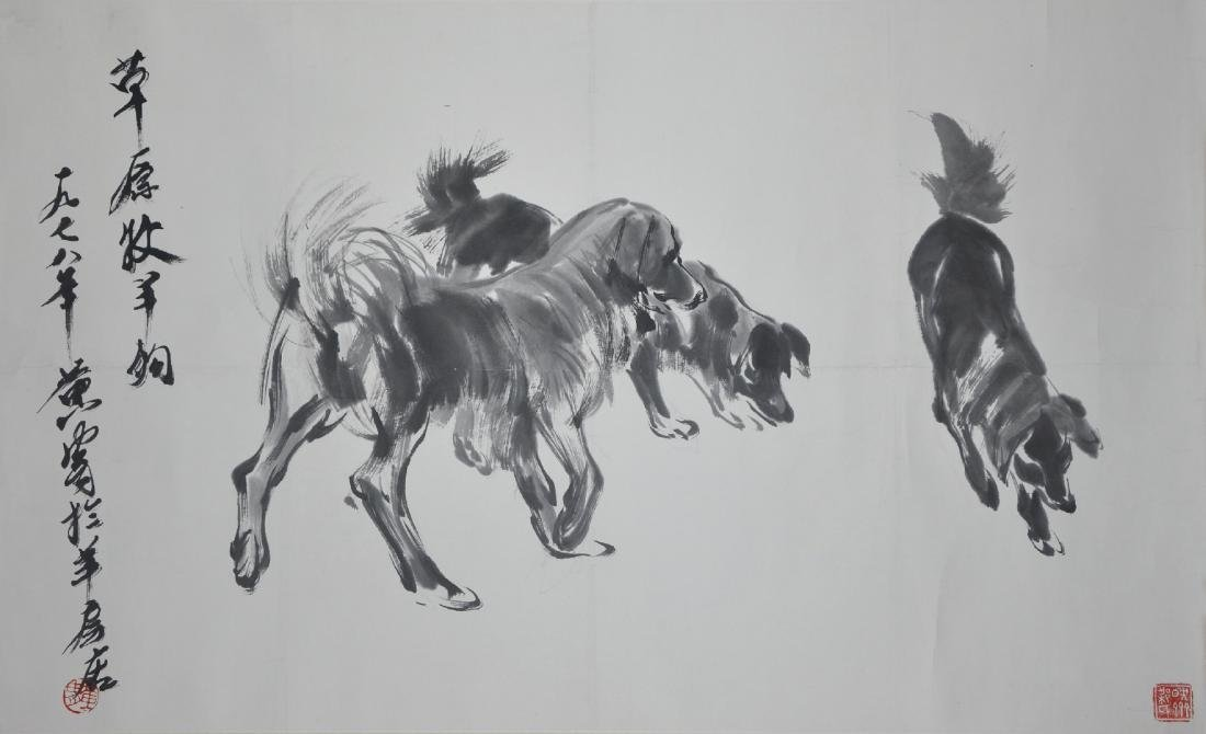 An ink on paper of shepherd dogs  by Huang Zhou