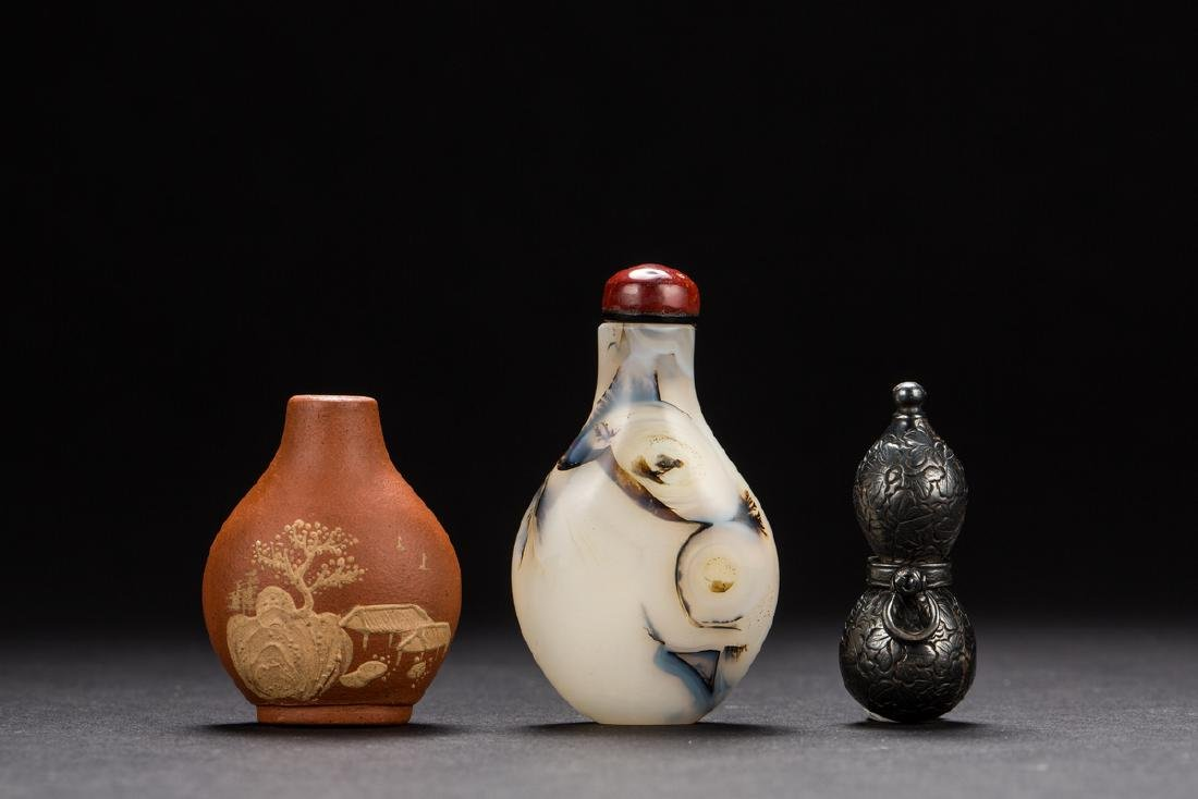 A group of three snuffle bottles from Qing Dynasty