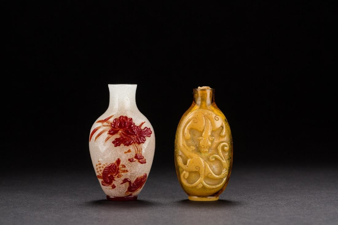 Two Chinese Peking glass snuffle bottle from Qing