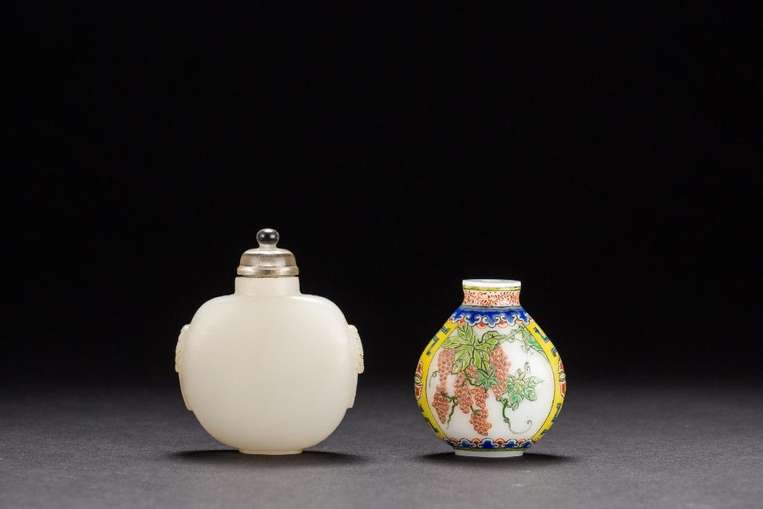 Two Chinese Peking glass snuffle bottles from Qing