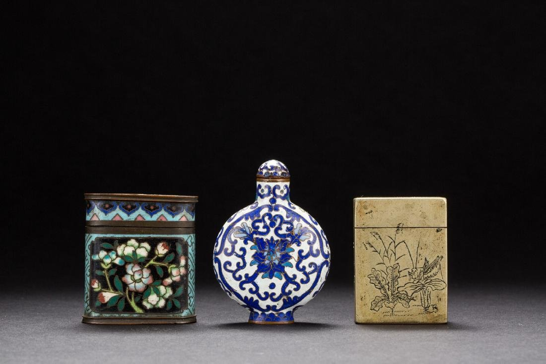 A group of three Chinese copper-based snuffle bottles
