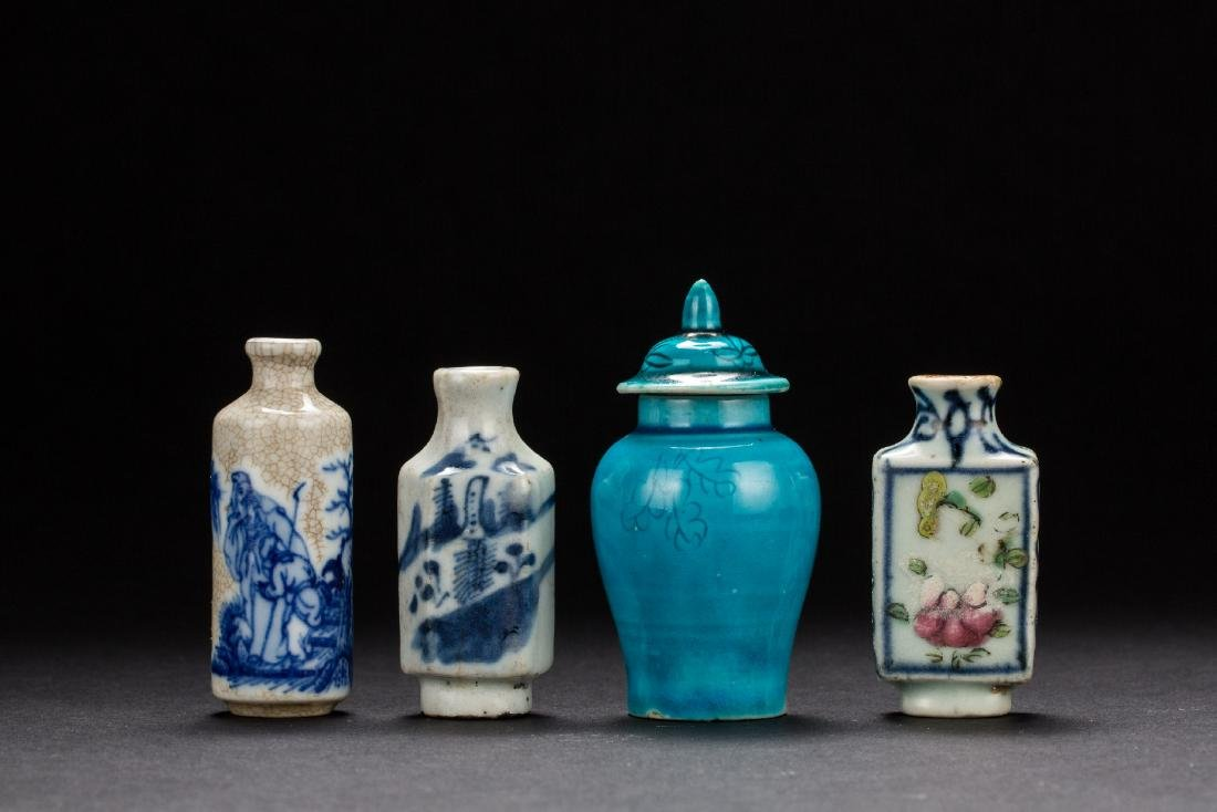 A group of four porcelain snuffle bottles Qing Dynasty