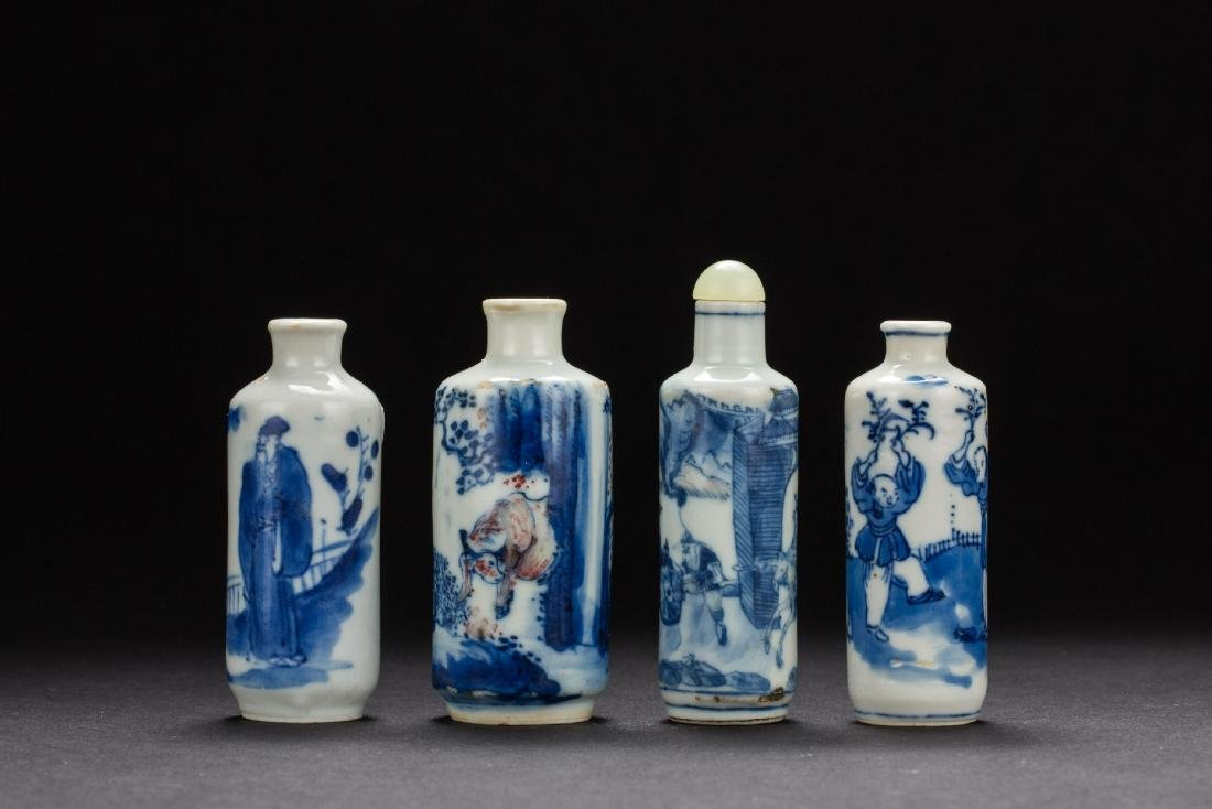 Three Chinese Blue and White figural snuffle From Qing