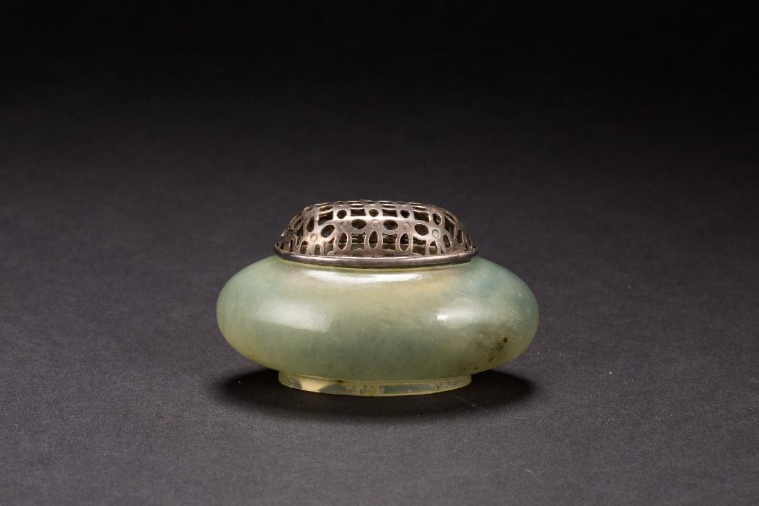 A Chinese  pale-white jade censer with round foot Qing