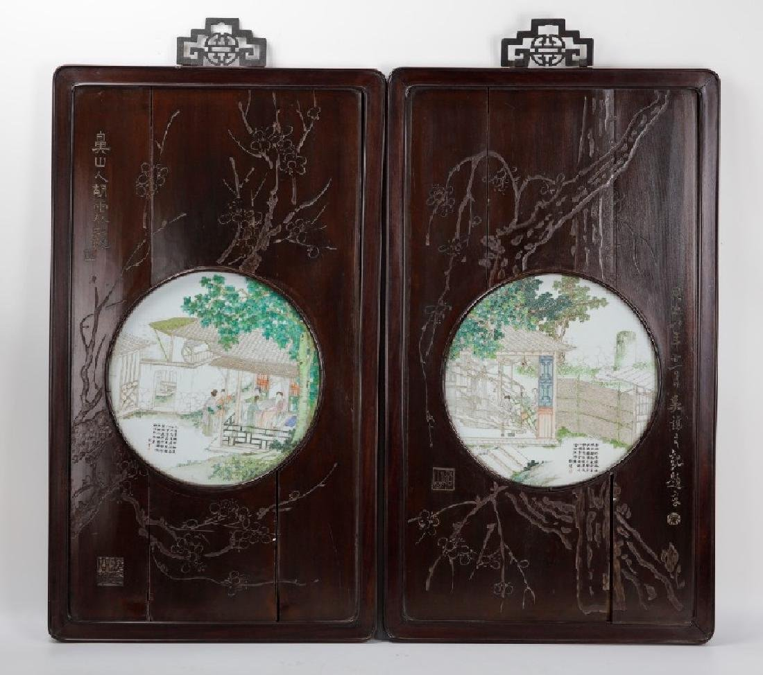 A Chinese pair of framed Chinese famille rose porcelain