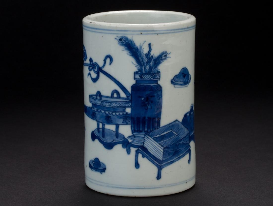 A Chinese Blue and White porcelain brush pot Mid-Qing