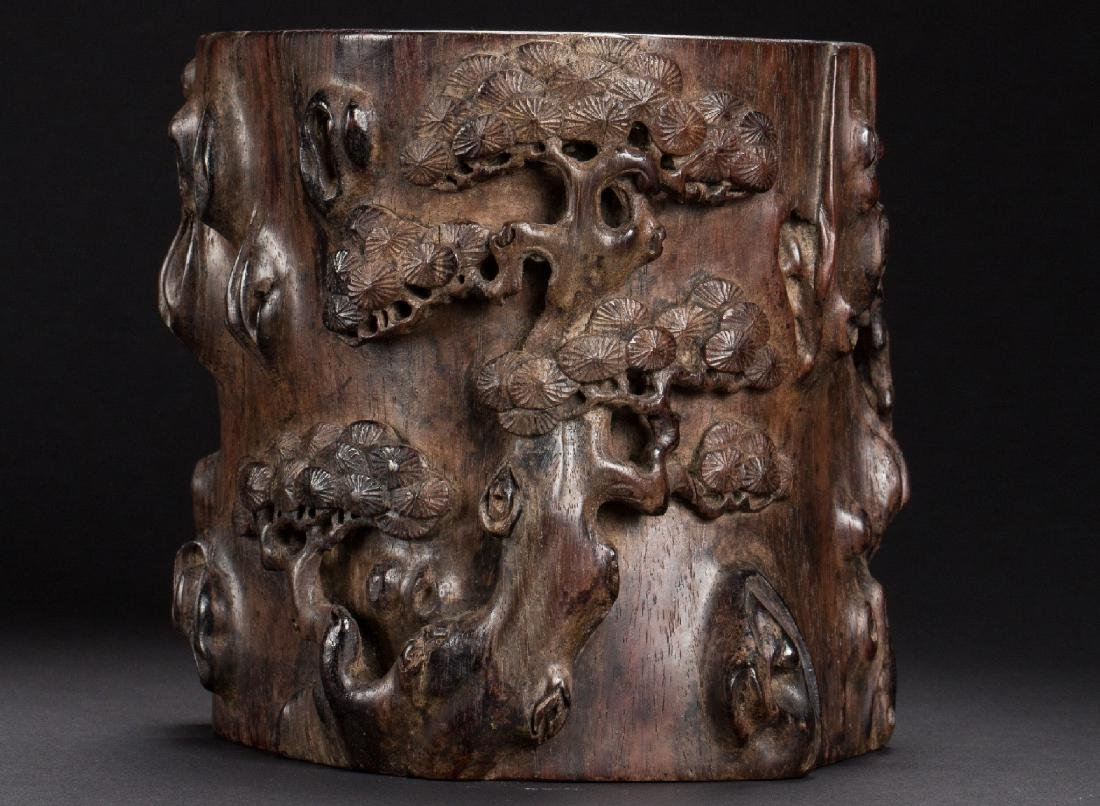A Chinese carved pine brush pot from Qing Dynasty