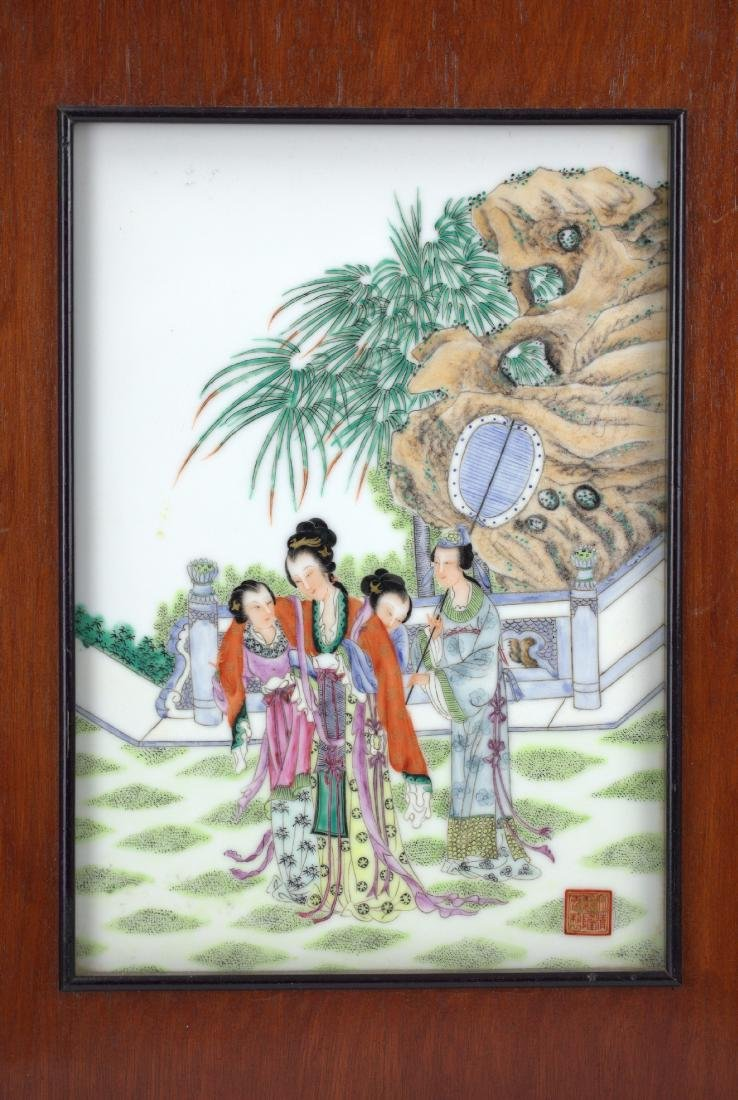 Chinese Framed famille rose porcelain plaque a lady