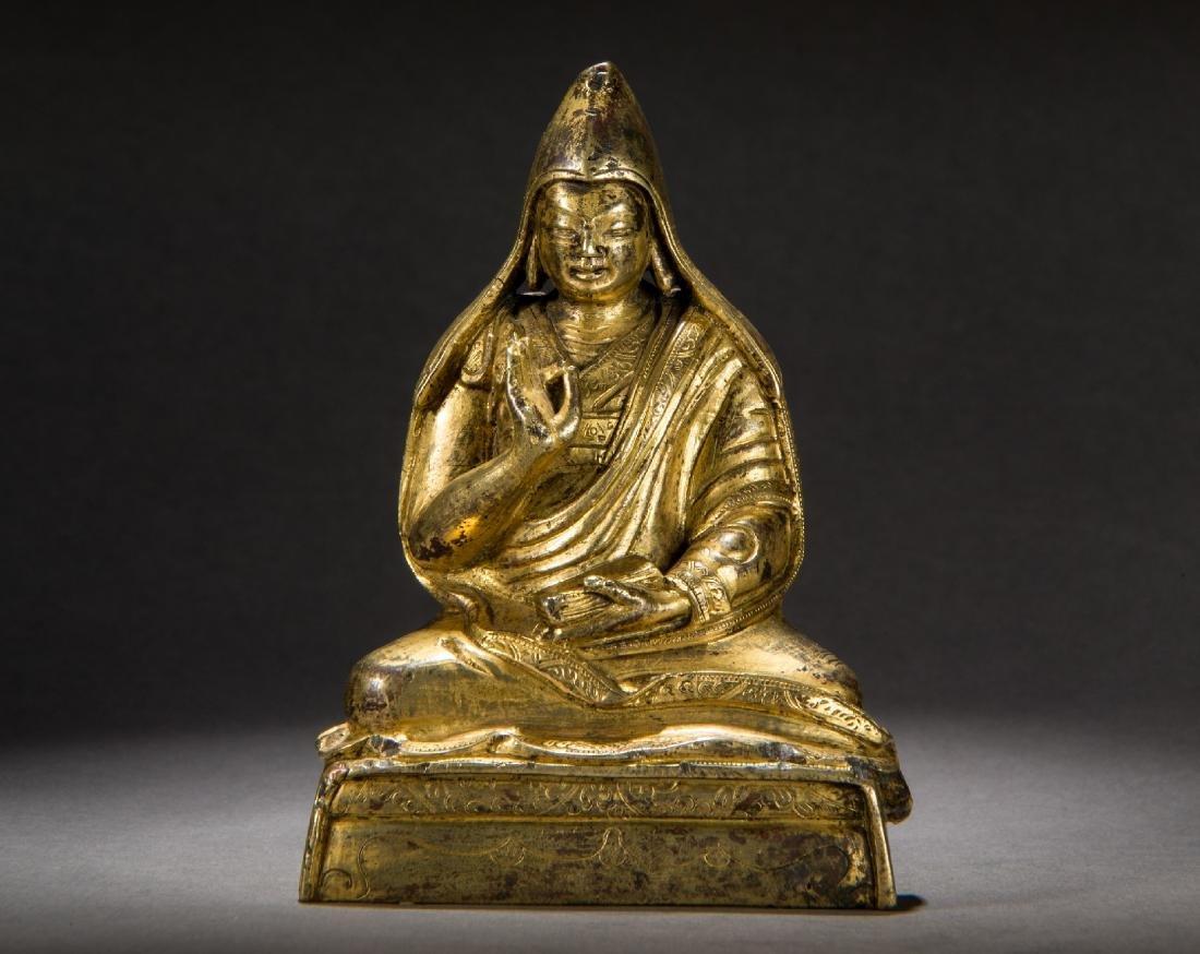 Gilt bronze Sixth Panchen Lama Statue Han-Tibetan style