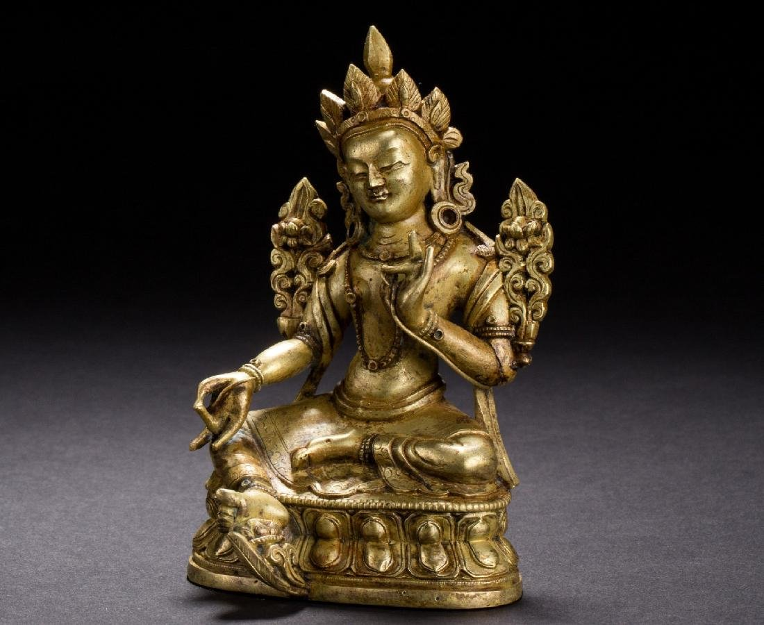 A Gilt Bronze Figure of Tara from Qing Dynasty
