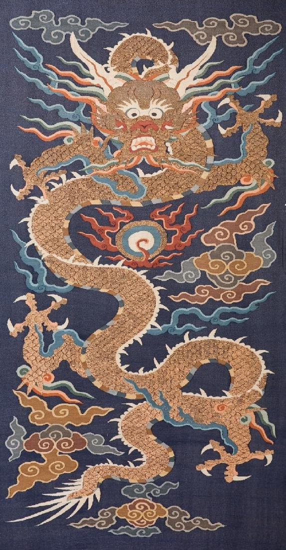 A Dragon Kesi Blue-ground Silk Embroidered Tapestry