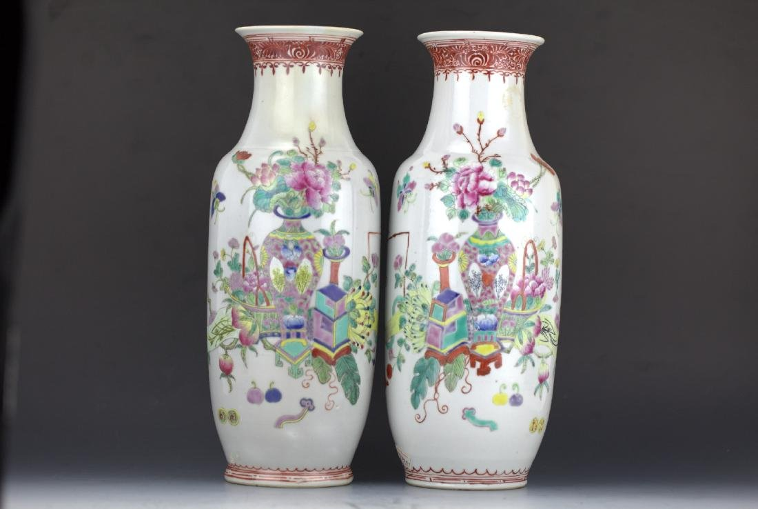 Pair of famille rose porcelain vases Republic of China