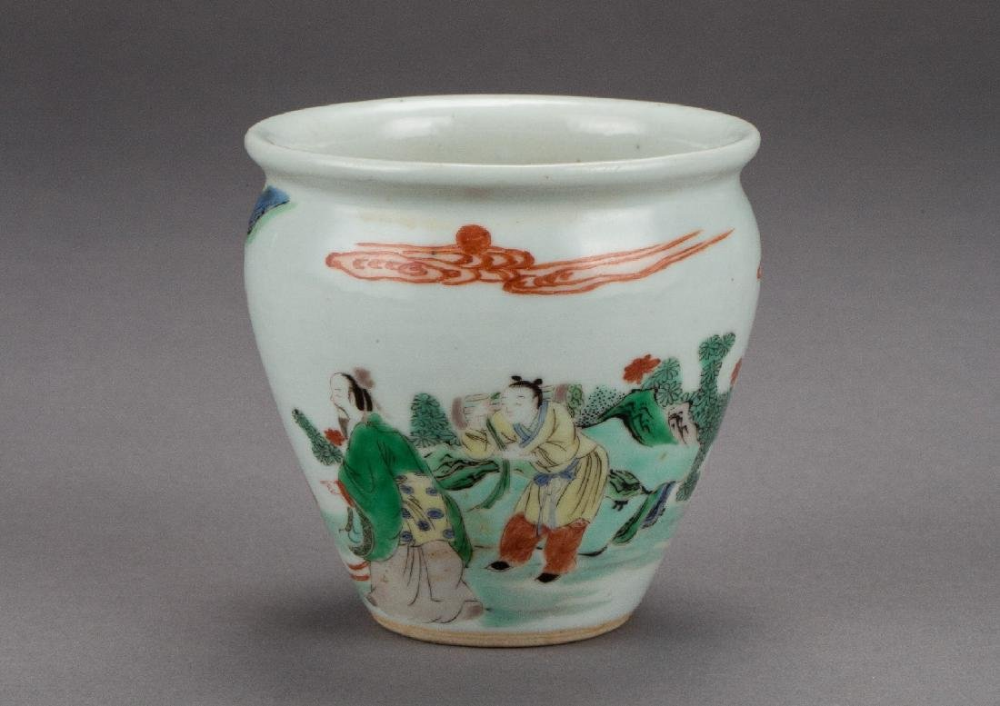A famille verte figural document cylinder vase Qing