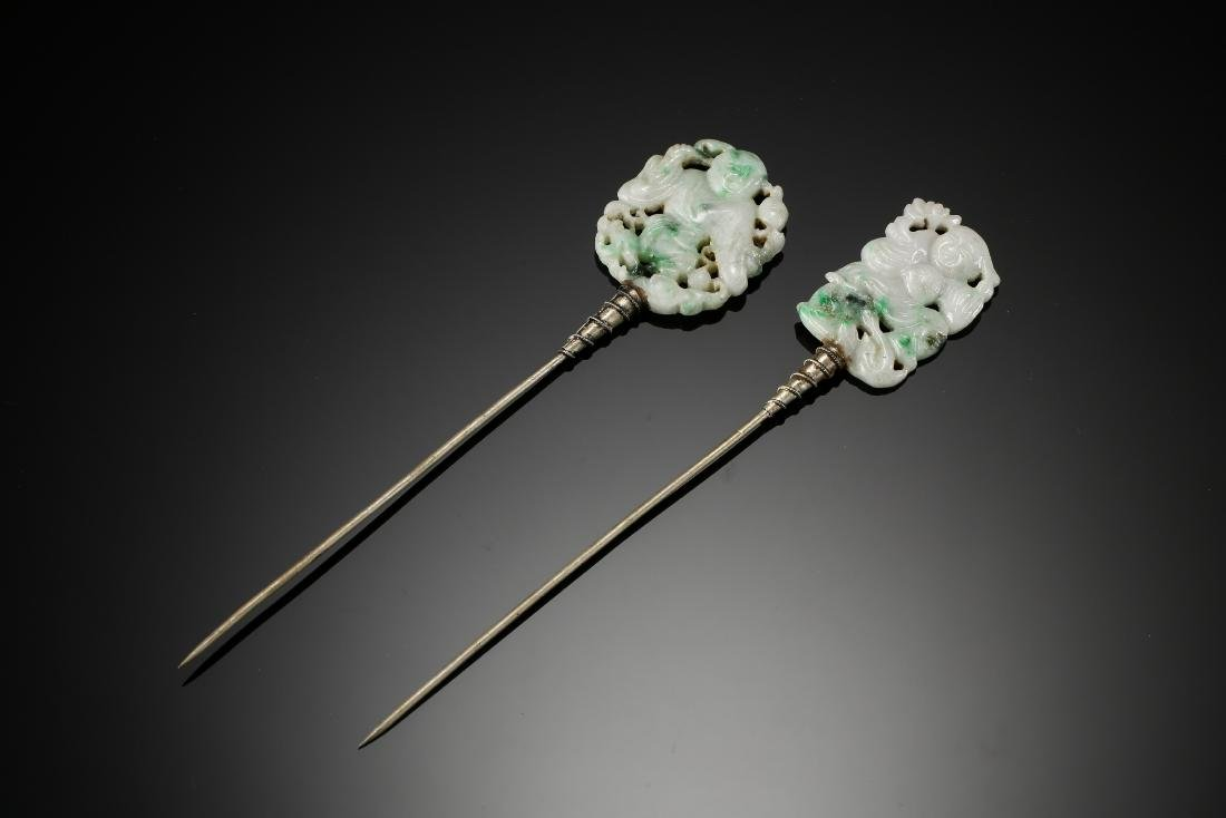 Two carved gaming child jadeite with silver hair pins