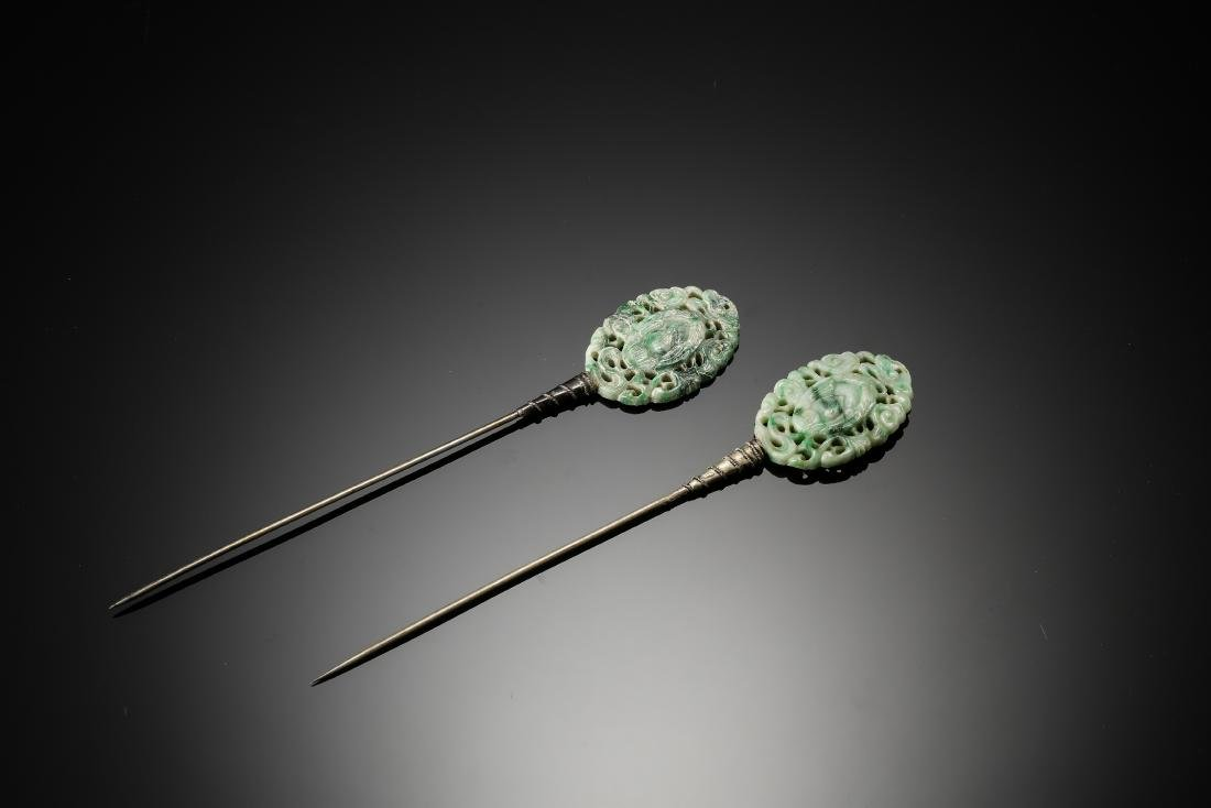 A pair of carved clouds jadeite with silver hair pins
