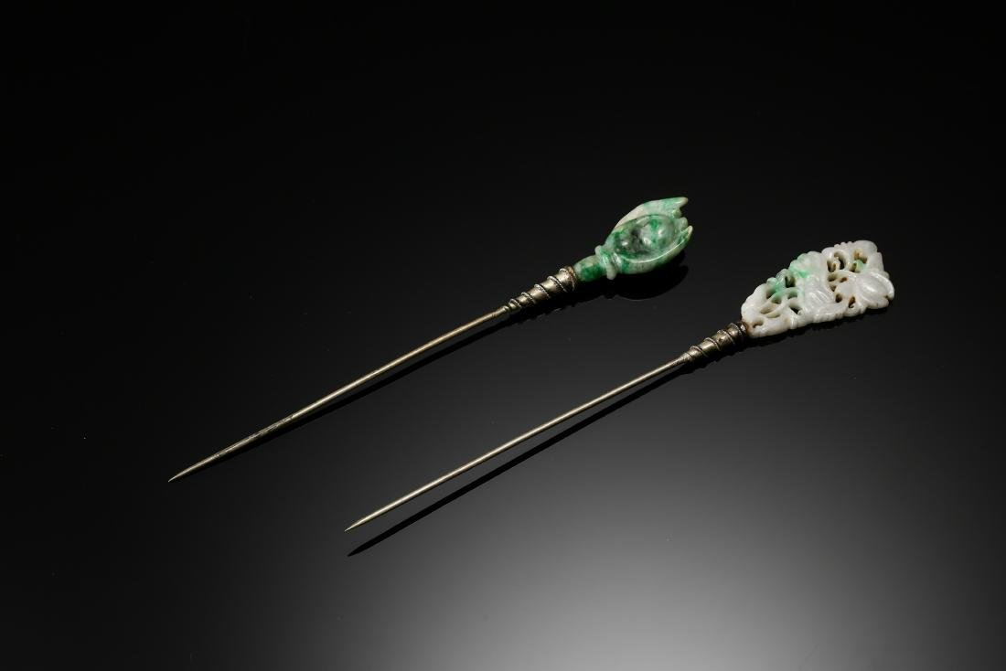 Two Jadeite and silver hair pins from late Qing Dynasty