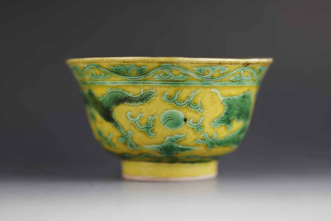 Yellow glaze cup with Kangxi mark