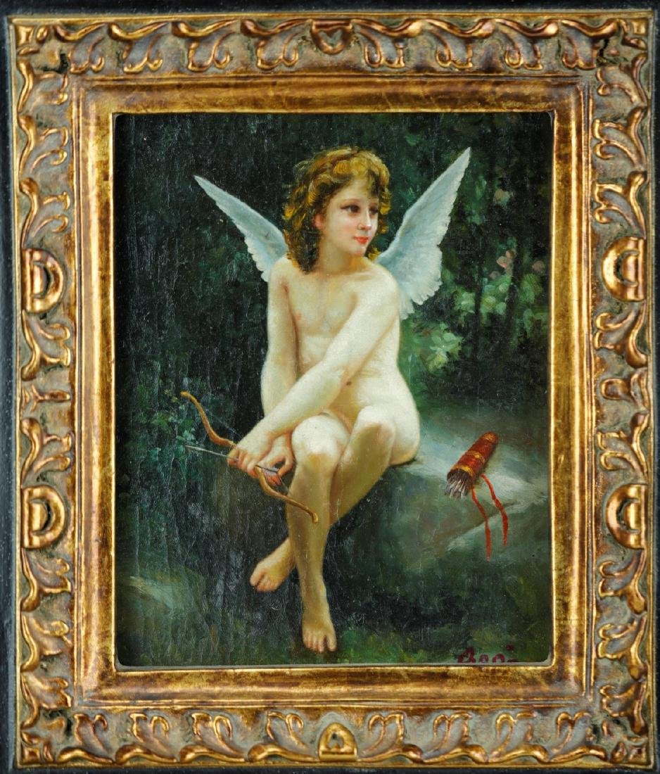 Amour A Laffut framed oil on canvas signed by William