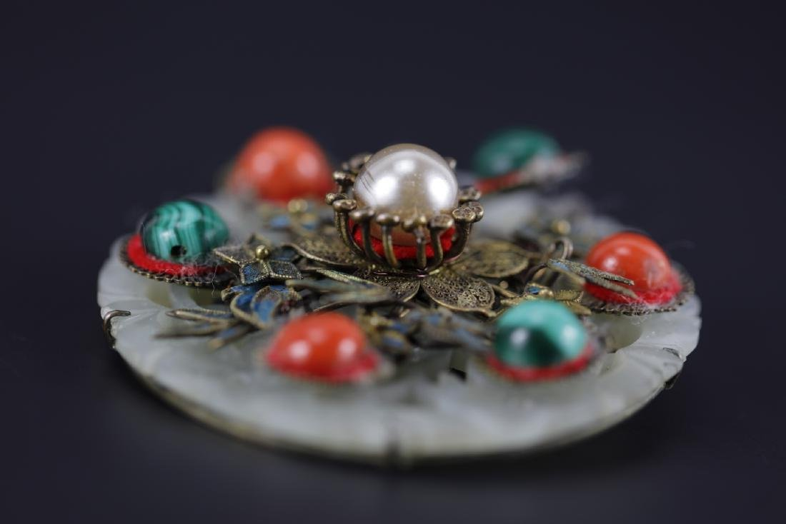 Jade brooch with decrotive coral, pearl and malachite