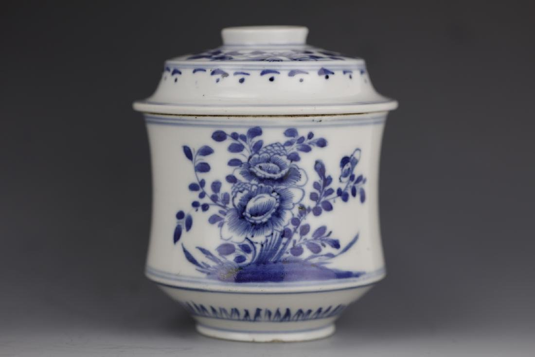 Blue and White porcelain tea caddy with lid from Qing