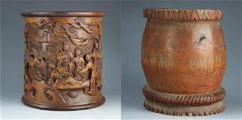 TWO Chinese carved Bamboo brush pot, Carved bamboo