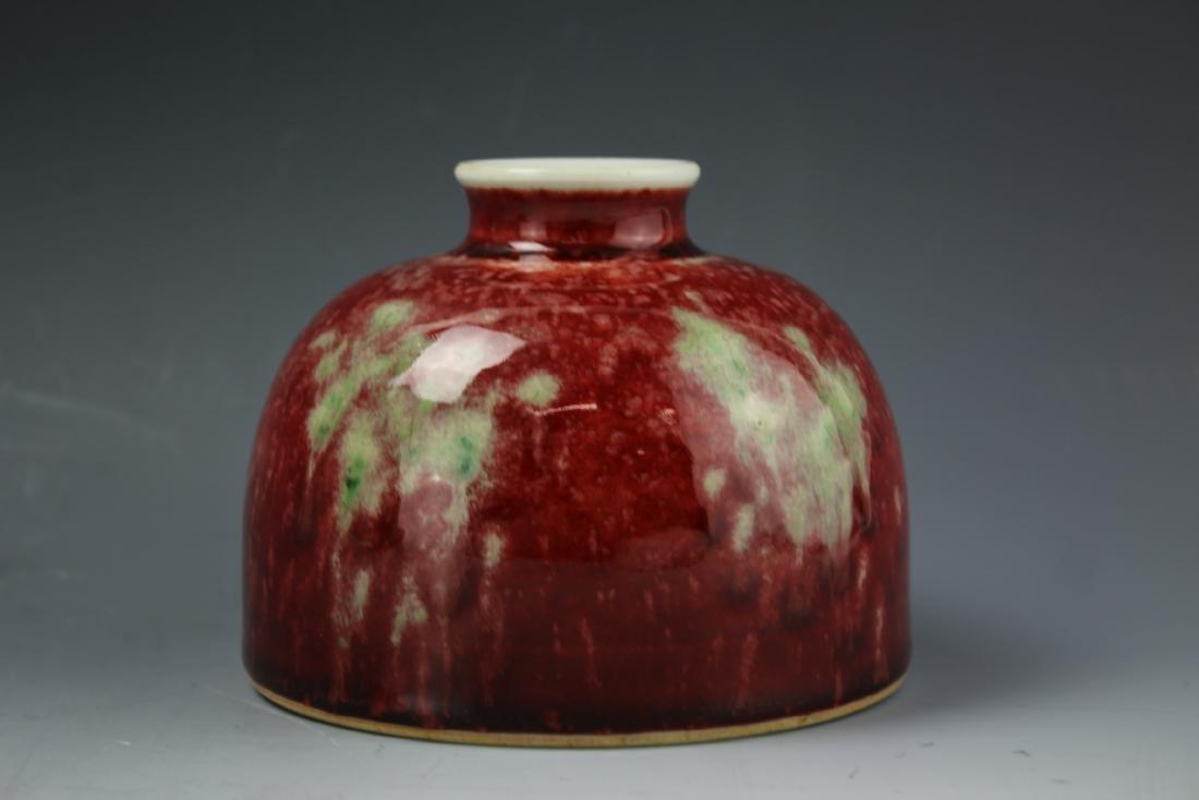 Chinese Beehive brush washer Red-glazed Kangxi mark
