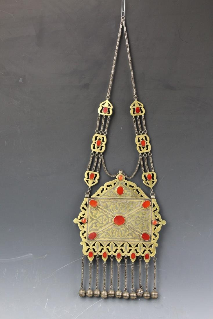Artisan crafted silver copper Turkmenistan carnelian