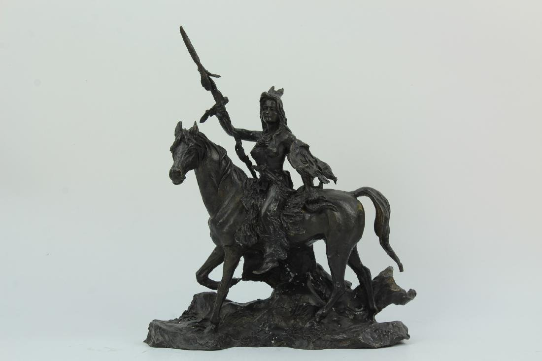 PHOM signed bronze figure of a native female warrior