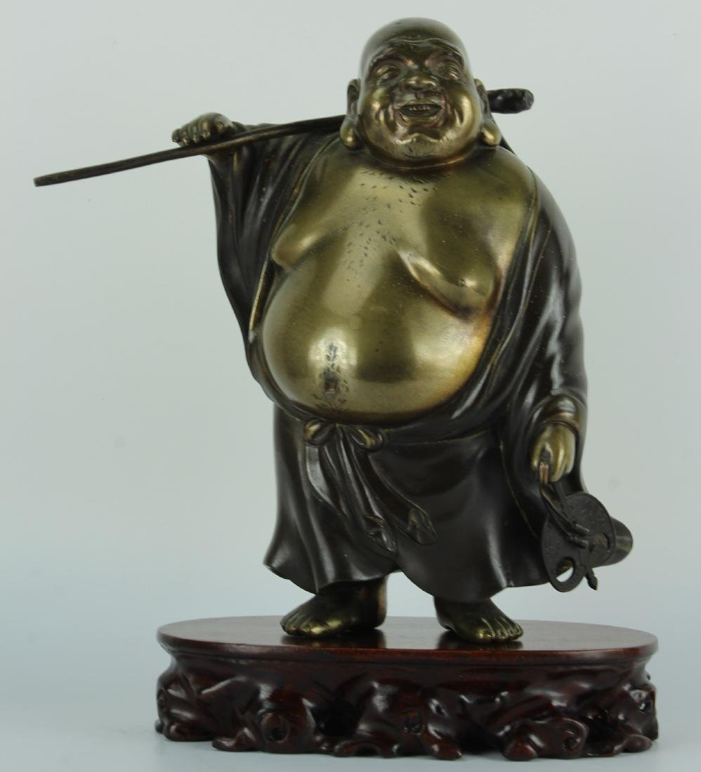 Japanese bronze figure of Hotei the god