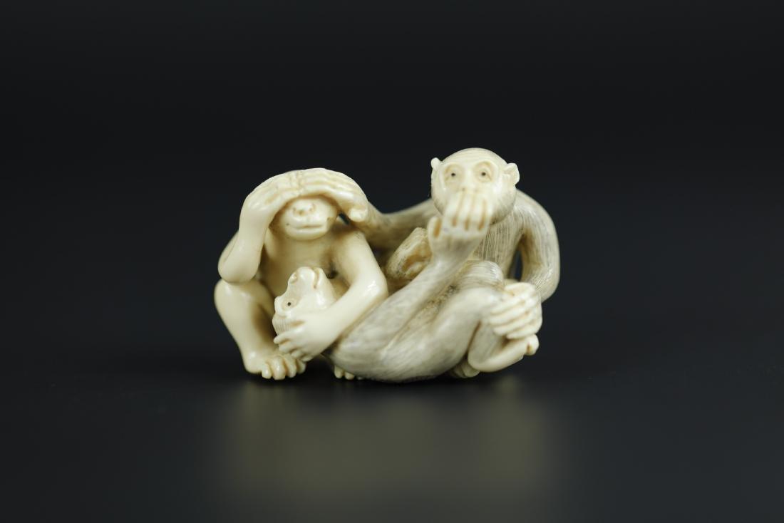 Japanese Netsuke carving of 3 monkeys