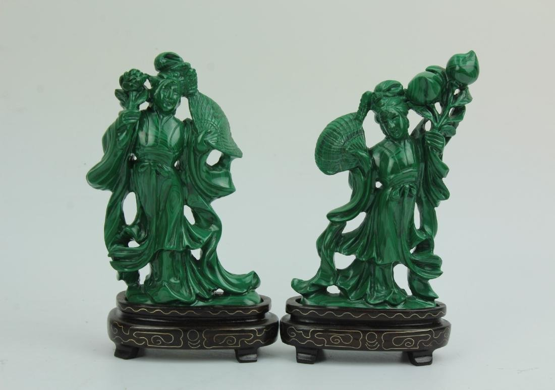 Two Carved Malachite Figurines with Wooden Stands
