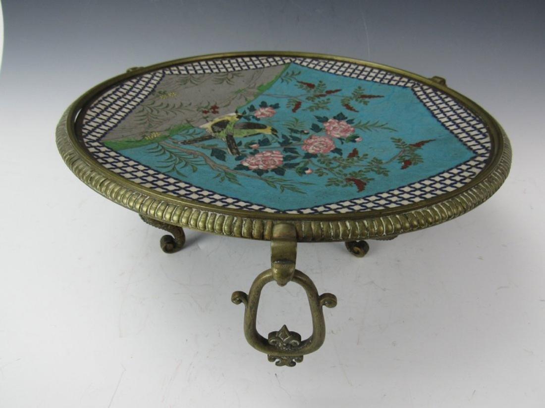 Chinese antique cloisonne enamel tripod plate