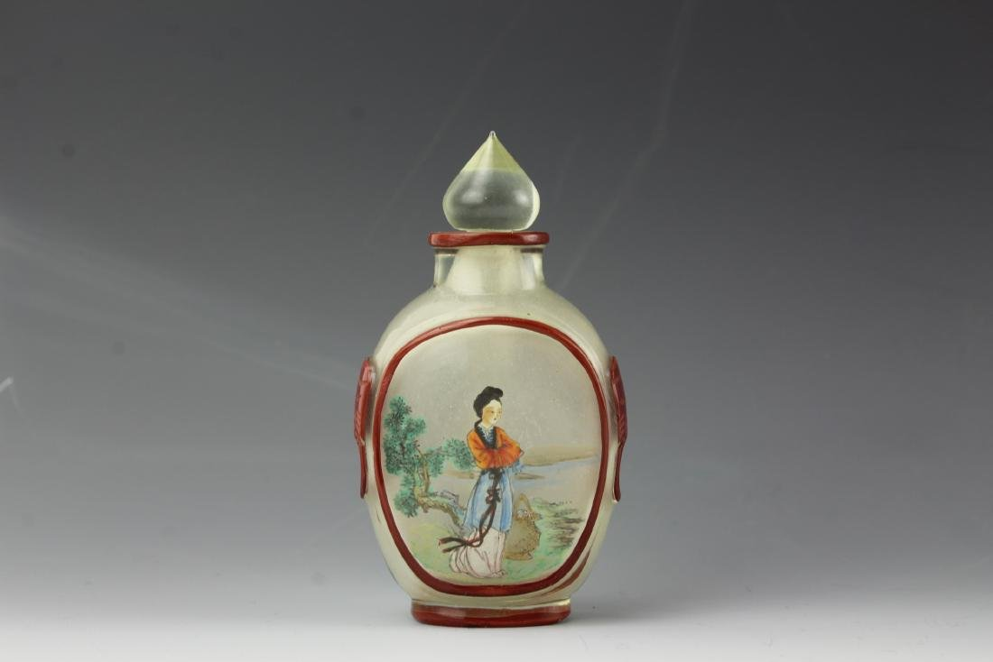 Chinese red overlay glass inside-painted snuff bottle