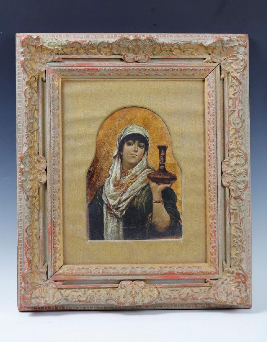 A Framed Oil On Leather of a Woman Holding a Vase Circa