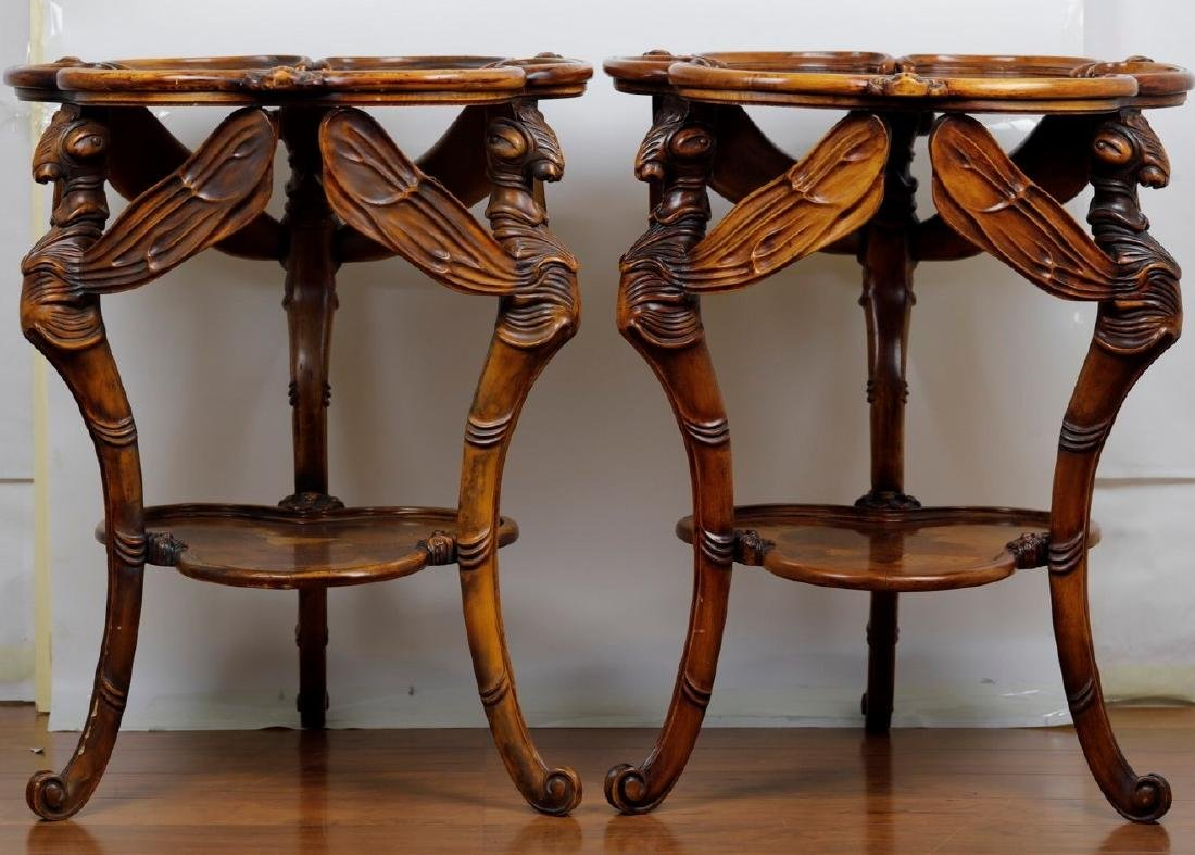 A Pair of Finely Carved Mahogany Dragonfly Galle