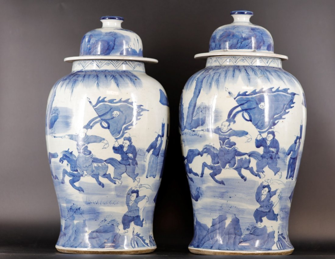 A Pair of Gnereral Jar with Lid Qing Dynasty