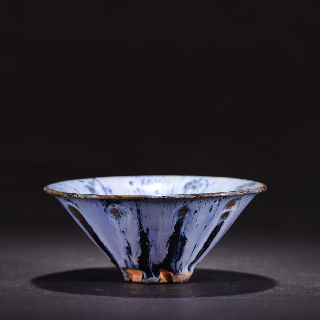 A Kiln-Glaze Blue Conical Tea Bowl
