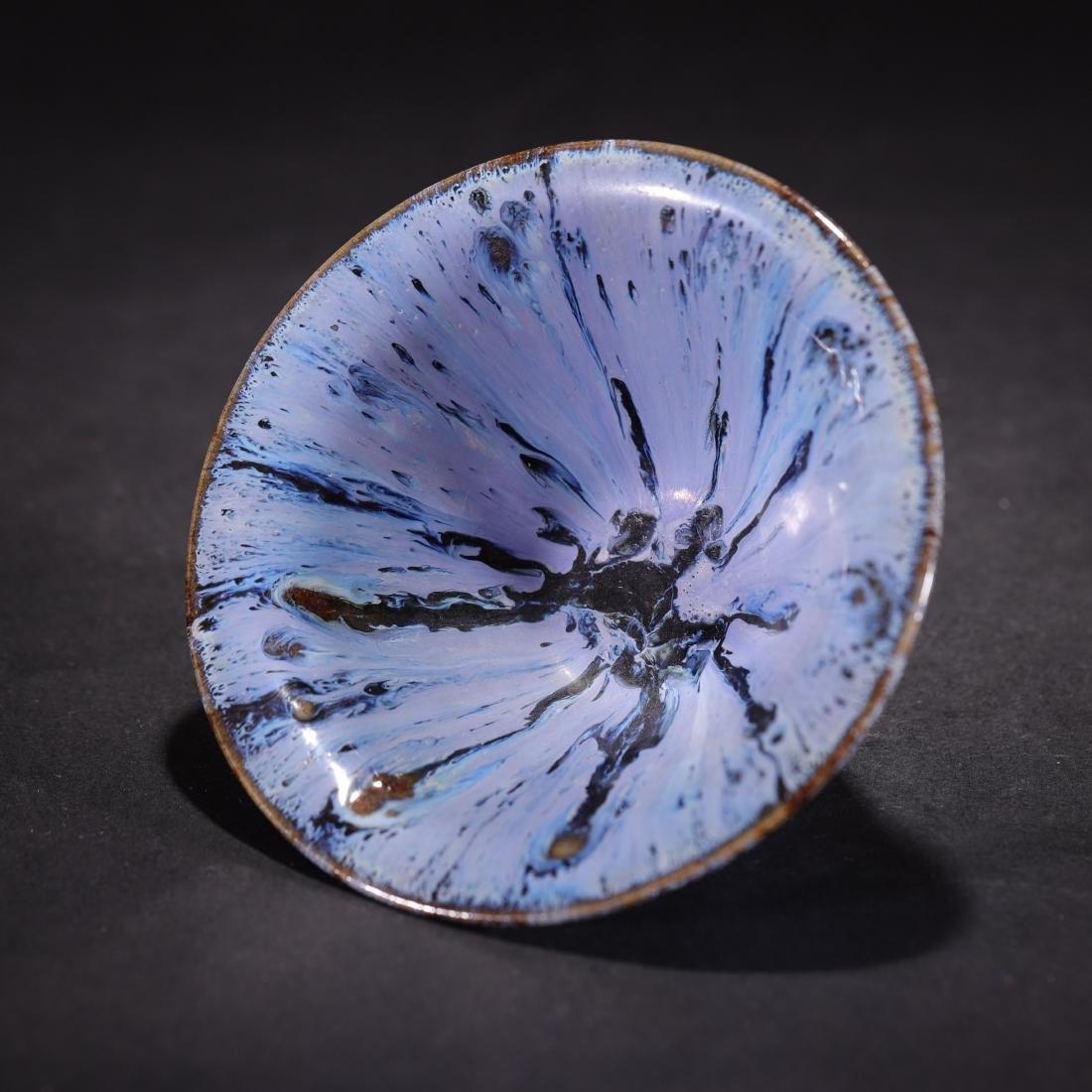 A Kiln-Glaze Blue Conical Tea Bowl - 2