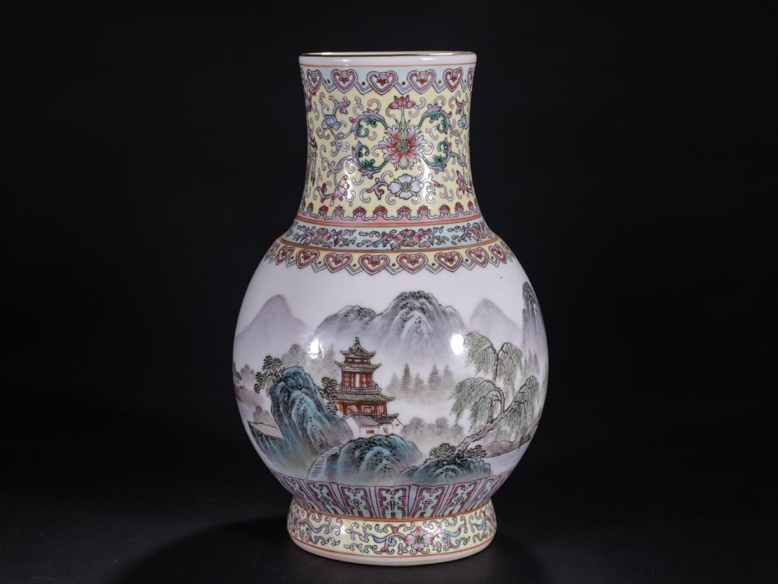 A Famille Rose Landscape Poem Vase