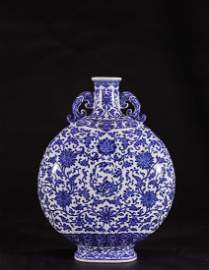 Important Blue and White Inter-Locking Lotus Moonflask