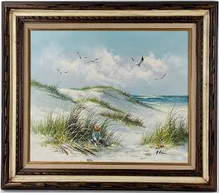 An Oil on Canvas of Boy on the Beach by H Gibson