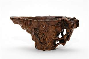 A Carved Chenxiang Sandalwood Jue Grand Cup