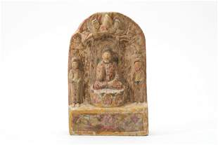 A Gilt Carved Marble Guanyin Statue