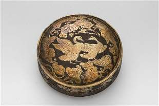 A Gilt Copper Powder Box with Carved Goose