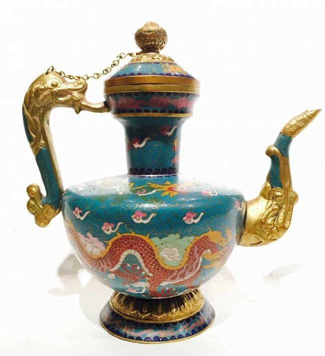 ORNATE CHINESE CLOISONNE TEAPOT