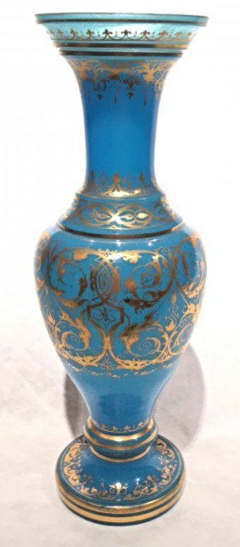 LARGE FRENCH OPALINE GLASS BLUE AND GOLD VASE