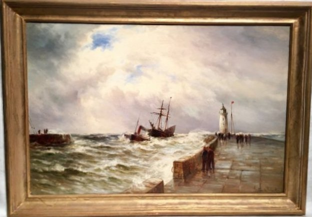 SHIP COMING TO PORT SIGNED GUSTAVE DE BREANSKI
